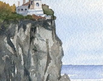 SPLIT ROCK LIGHTHOUSE Watercolor Signed Fine Art Print by Artist D J Rogers
