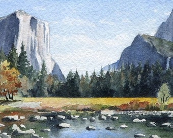 YOSEMITE VALLEY Watercolor Signed Fine Art Print by Artist DJ Rogers