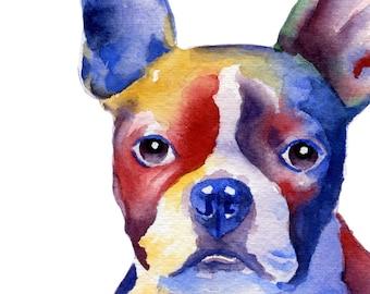 BOSTON TERRIER Art Print Signed by Artist DJ Rogers
