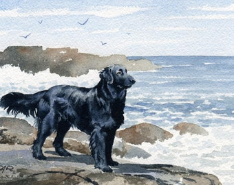 FLAT COATED RETRIEVER Art Print Watercolor Signed by Artist D J Rogers