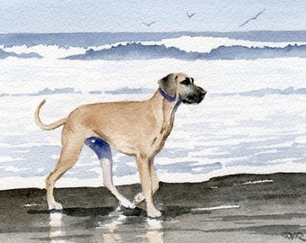 GREAT DANE At The BEACH Dog Art Print Signed by Artist D J Rogers