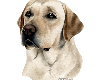 LABRADOR RETRIEVER Dog Watercolor Painting Art Print Signed by Artist DJ Rogers