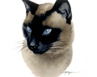 SIAMESE CAT Watercolor Painting Art Print Signed by Artist DJ Rogers