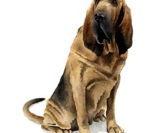 BLOODHOUND Dog Art Print Signed by Artist DJ Rogers