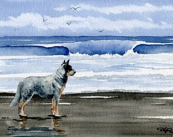 AUSTRALIAN CATTLE DOG At The Beach Watercolor Signed Fine Art Print by Artist D J Rogers