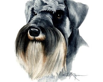 SCHNAUZER Dog Watercolor Painting ART Print Signed by Artist DJ Rogers