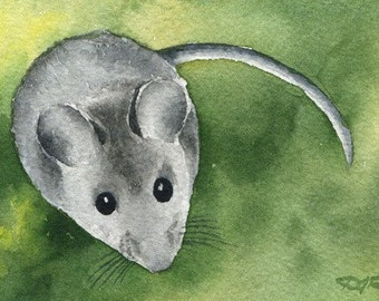 MOUSE Watercolor Signed Fine Art Print by Artist DJ Rogers