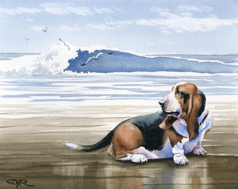 BASSET HOUND Art Print Signed by Artist DJ Rogers