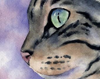 TABBY CAT Art Print Signed by Artist DJ Rogers