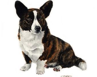 CARDIGAN WELSH CORGI Dog Art Print Signed by Artist D J Rogers