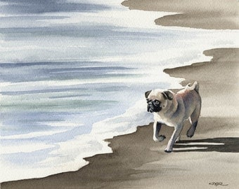 PUG Dog Signed Art Print by Artist DJ Rogers