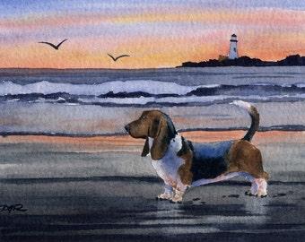 "Basset Hound Art Print ""BASSET HOUND SUNSET"" Signed by Artist D J Rogers"