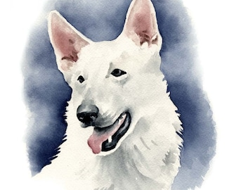 WHITE GERMAN SHEPHERD Dog Watercolor Painting Art Print Signed by Artist D J Rogers