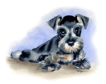 MINIATURE SCHNAUZER PUPPY Dog Watercolor Painting ArtPrint Signed by Artist D J Rogers