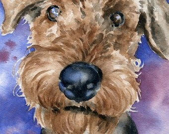 AIREDALE TERRIER Original Watercolor Painting by Artist DJ Rogers