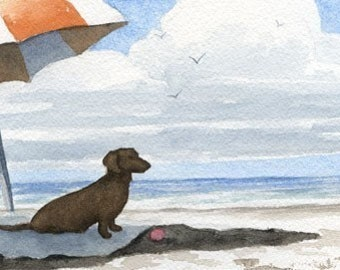 """DACHSHUND Art Print """"Dachshund At The BEACH"""" Watercolor Signed by Artist D J Rogers"""