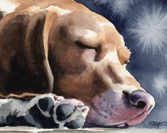 BEAGLE Original Watercolor Painting by Artist DJ Rogers