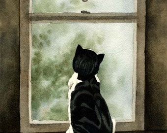 LOOKING OUT Art Cat Print Signed by Artist DJ Rogers