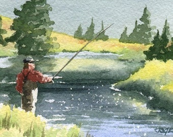 FLY FISHING  Watercolor Signed Fine Art Print by Artist DJ Rogers