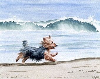 YORKSHIRE TERRIER Art Print Watercolor Signed by Artist DJ Rogers