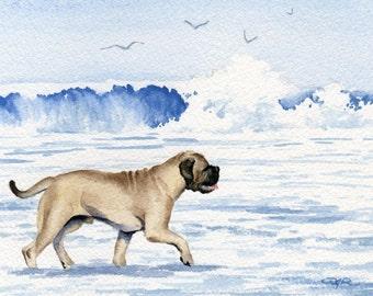 "BULLMASTIFF Art Print ""Bullmastiff At The Beach"" Watercolor Signed by Artist DJ Rogers"