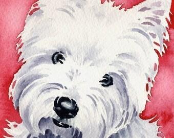 West Highland Terrier Art Print Signed by Artist DJ Rogers