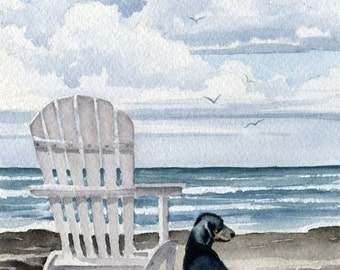"""Dachshund Art Print """"DACHSHUND At The BEACH"""" Dog Watercolor Signed by Artist DJ Rogers"""