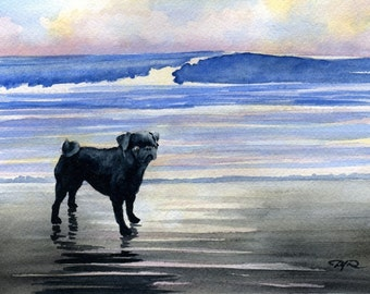BLACK PUG Sunset Original Watercolor Painting by Artist DJ Rogers