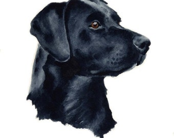 BLACK LAB Dog Art Print Signed by Artist DJ Rogers