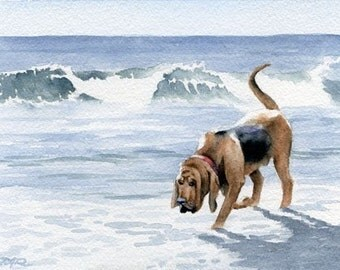 "Bloodhound Art Print ""BLOODHOUND at the BEACH"" Signed by Artist DJ Rogers"