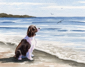 "SPRINGER SPANIEL Art Print ""Springer Spaniel At The Beach"" Watercolor Signed by Artist D J Rogers"