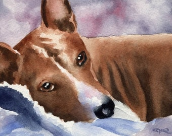 BASENJI Original Watercolor Painting by Artist DJ Rogers