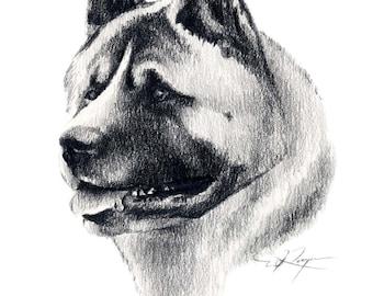 AKITA Dog Art Print Signed by Artist DJ Rogers