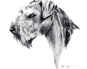 AIREDALE TERRIER Dog Drawing Art Print Signed by Artist DJ Rogers