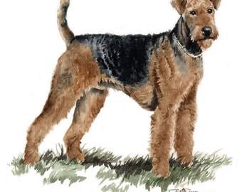 AIREDALE TERRIER Dog Watercolor Art Print Signed by Artist DJ Rogers