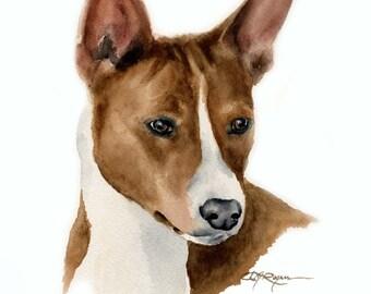 BASENJI Dog Art Print Signed by Artist DJ Rogers