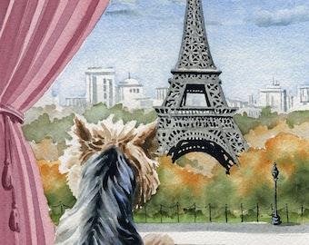 "Yorkshire Terrier Art Print ""YORKSHIRE TERRIER In Paris"" Watercolor Signed by Artist DJ Rogers"