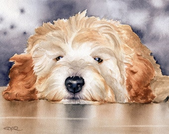 GOLDENDOODLE Art Print Watercolor Signed by Artist DJ Rogers