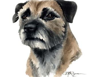 BORDER TERRIER dog art print signed DJ Rogers