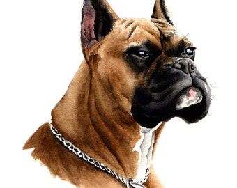 BOXER Art Print Signed by Watercolor Artist DJ Rogers