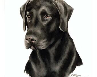 CHOCOLATE LAB LABRADOR Dog Art Print Signed by Artist D J Rogers