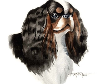 English Toy Spaniel Dog Art Print Signed by Artist DJ Rogers