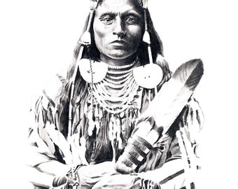 CHIEF MEDICINE CROW Pencil Drawing American Indian Art Print Signed by Artist D J Rogers