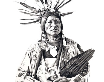 CHIEF MANY HORNS Pencil Drawing American Indian Art Print Signed by Artist D J Rogers