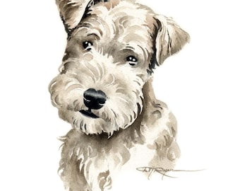LAKELAND TERRIER PUPPY Dog Watercolor Painting Art Print Signed by Artist D J Rogers