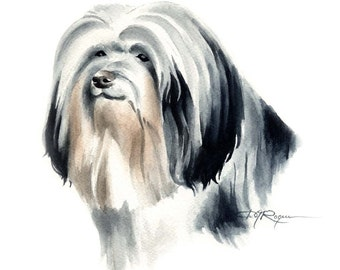 LOWCHEN Dog Watercolor Painting ART Print Signed by Artist DJ Rogers