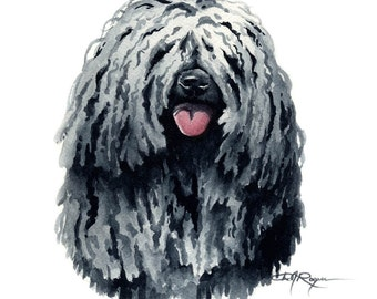 PULI Dog Watercolor Painting ART Print Signed by Artist DJ Rogers