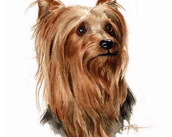 YORKSHIRE TERRIER Dog Watercolor Painting Art Print Signed by Artist DJ Rogers
