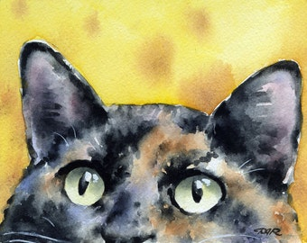 Tortie Cat Art Print Tortoiseshell Watercolor Signed by Artist DJ Rogers