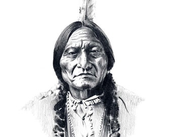 Chief SITTING BULL Pencil Drawing American Indian Art Print Signed by Artist DJ Rogers